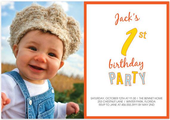 1st Birthday Party Kid Birthday Party Invitations